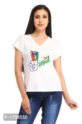 Jai Hind Two Fingers Casual White V-neck Printed T-shirt