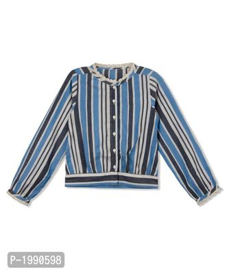 Blue Striped Cotton Casual Top