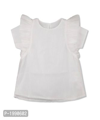 White Solid Polyester Casual Top
