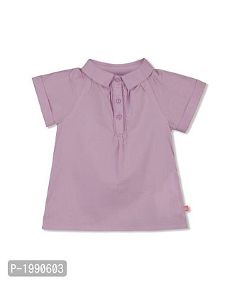Purple Solid Cotton Casual Top