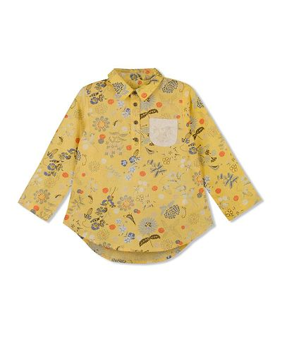 Yellow Printed Cotton Casual Top