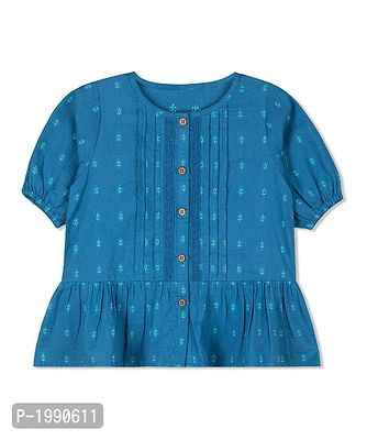 Blue Printed Cotton Casual Top