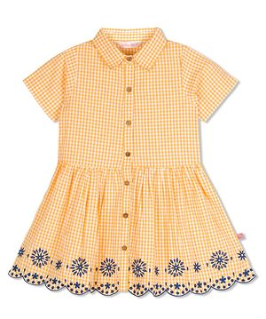 Yellow Check Embroidered Dress