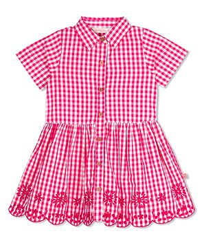 Pink Check Embroidered Dress