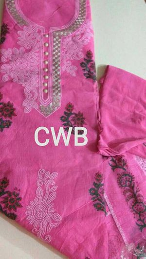 Cotton with embroidery  work