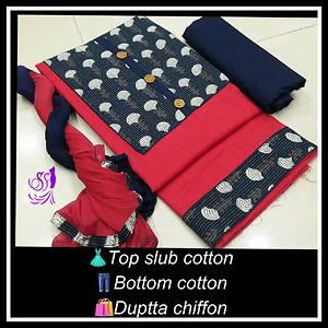 👗Top slub cotton👖bottom cotton 👇duptta chiffon