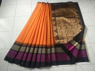 Korvai silk   Singles available  Dry wash material  With contrast attached black color blouse..Due to digital photography colors may vary slightly.... Shipping extra