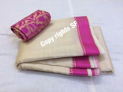 shakshi model 👆🏻👆🏻  tussar sares running blouse exrra blouse contrast 1 meter jaqurd banars dry wash or shampoo wash   rdy to ship   price 1050+ship  with out extra blouse 950+$