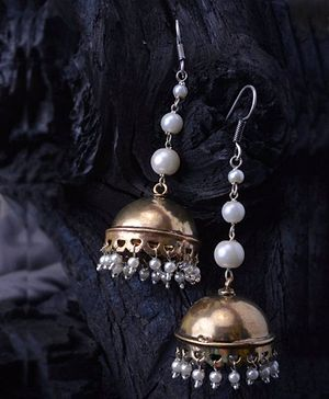 Danglers with silver and brass finish