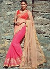 Neon Pink and Peach Net Half and Half Embroidered Saree