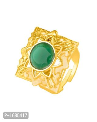 Gold Plated Alloy Ring with Green Gem