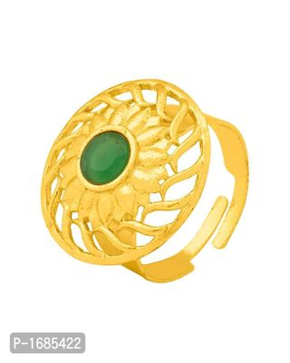 Yellow Gold Plated Ring with Green Gem