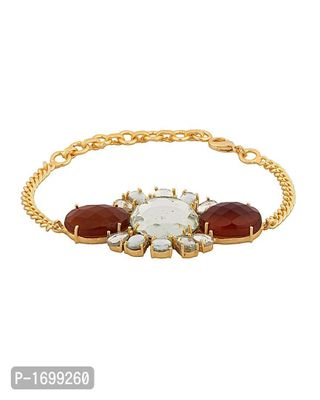 Gold Tone Link Bracelet With Glossy Floral Design