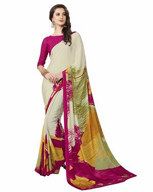 Cream And Pink And Yellow Color Printed Crepe Saree