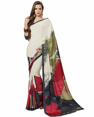 Cream And Pink And Grey Color Printed Crepe Saree