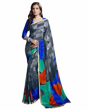 Grey And Blue Color Printed Crepe Saree