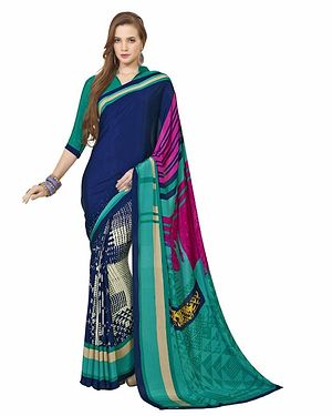 Blue And Green Color Printed Crepe Saree