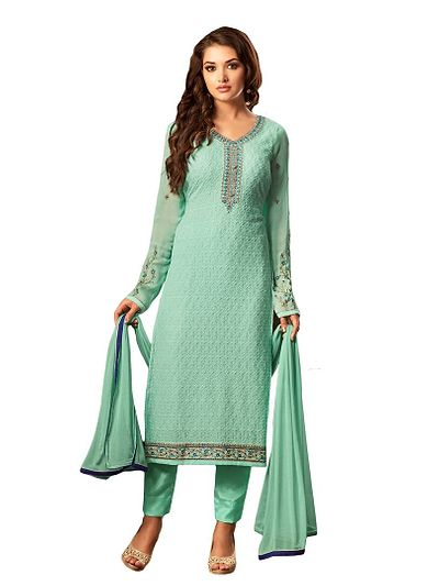 Party Wear Blue Embroidered Unstitch Dress Material