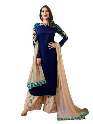 Party Wear Blue Satin Embroidered Unstitched Dress