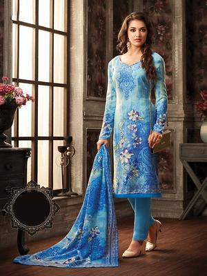 fd4c7440299172 Light Blue Designer Ganga Pashmina Suit - Buy latest collections ...