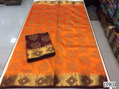 Pure tussar silk with rich pallu and contrast blouse .buyers and reseller contact