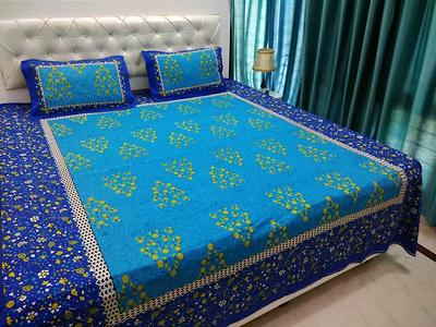 🆕🆕🆕🆕🆕🆕🆕🆕🆕🆕100% COTTON JAIPURI DOUBLE BED SHEET SET  One double bed sheet(220*240cm)  With two pillow covers(46*69cm)  Weight --850gms..