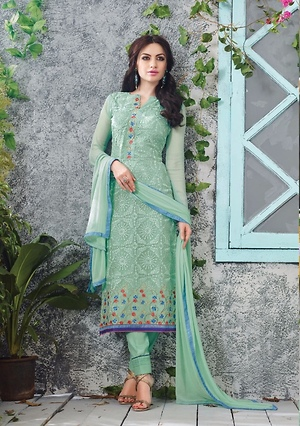 Party wear Georgette dress material with Chiffon dupatta