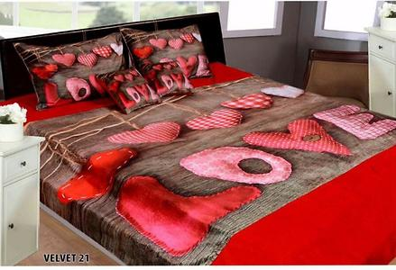 Velvet Digital Print Double Bedsheet with two pillow covers