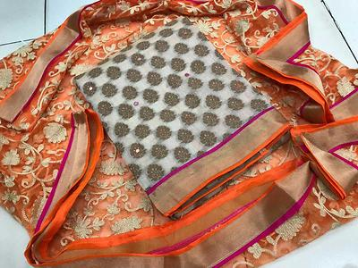 *FULL STOCK READY*  FABRIC- PURE RICH KHADI CHANDERI WITH *HEAVY AARI WORK DESIGNER NET DUPATTA* WITH COTTON BOTTOM.  2 *COMBINATION IN HAND*  WITH PINK BOTTOM🌸 WITH ORANGE BOTTOM🍊  *READY IN STOCK IN MULTIPLES*  BOOKING OPEN..... contact me 8708409216