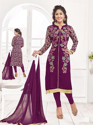Knot-n-Needle Heena Khan Style Georgette Embroidered  Dress material