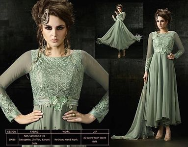 10038-Net and Georgette Flair Cut Suit