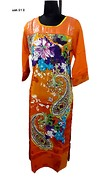 orange sequinned kurti with printed panel at front available in sizes L to XXL