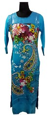 turq colour sequinned kurti with printed panel at front available in size L to XXL