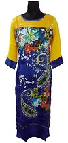 yellow colour sequinned kurti with printed panel at front available in size L to XXL