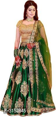 Green Art Silk Embroidered Semi Stitched Lehenga Choli