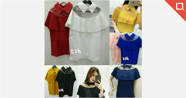 American crepe collar tops* Bust upto 36  Navy blue n yellow not avail