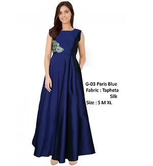 Parisj blue tapheta silk evening gowns