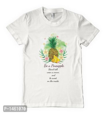 White Be a Pineapple Printed Tees