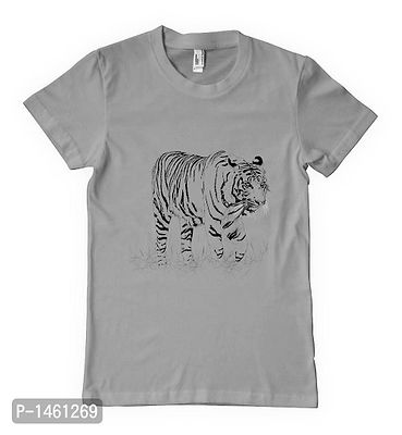 Grey Black Tiger Printed Tees