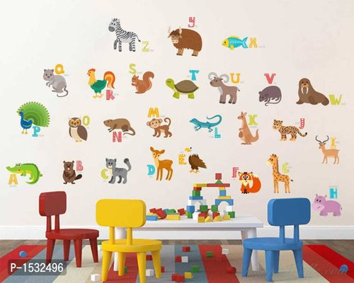 Multicoloured Abcd Animals Name Wall Sticker Vinyl Wall Stickers