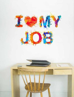 Multicoloured I Luv My Job Wall Sticker Vinyl Wall Stickers