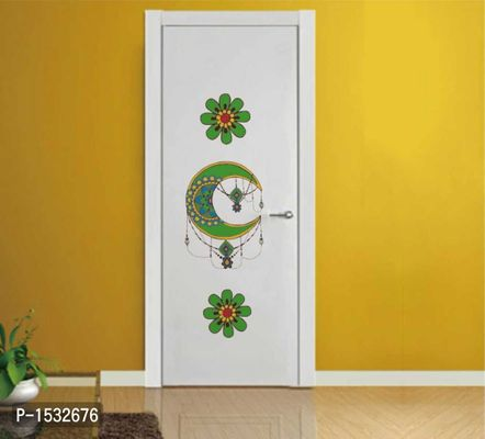 Multicoloured Decorative Flower And Half Moon Wall Decal Sticker Vinyl Wall Stickers
