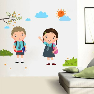Multicoloured Back To School Boy And Girl Wall Sticker Vinyl Wall Stickers