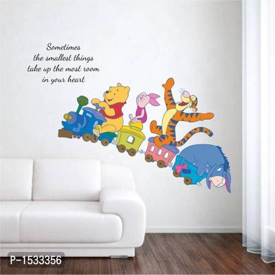 Multicoloured Kids Room : Animals On Baby Train And Quote Vinyl Wall Stickers
