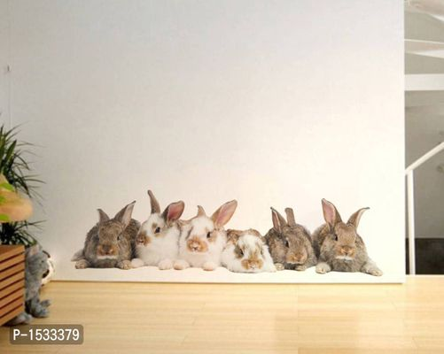 Multicoloured Living Room Group Of Rabbit Vinyl Wall Stickers