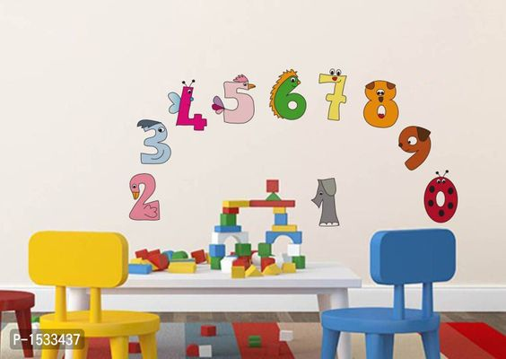 Multicoloured Numerical Numbers For Kids Education Vinyl Wall Stickers