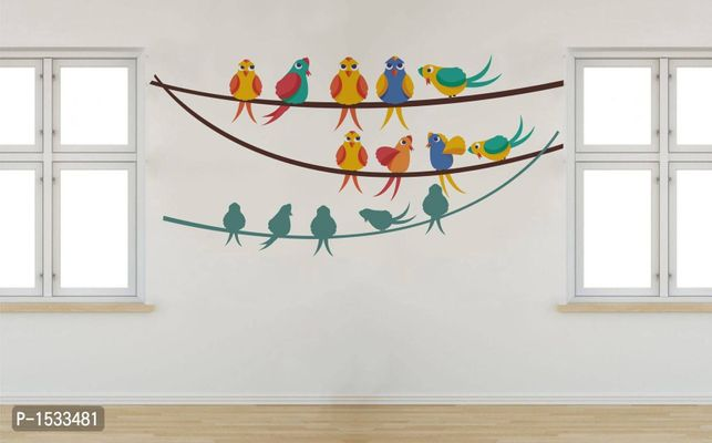 Multicoloured Birds Family On String And Shadows Vinyl Wall Stickers