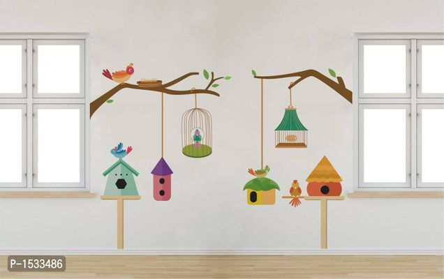Multicoloured Birds Family And Their Cage Vinyl Wall Stickers