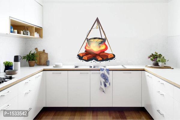 Multicoloured Fire Pot Cooking - Kitchen Room Vinyl Wall Stickers
