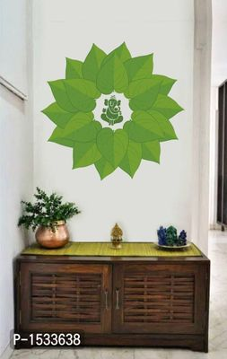 Multicoloured Lord Ganesha Green Decorative Leaves Vinyl Wall Stickers